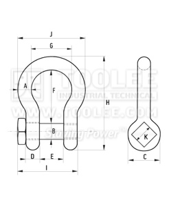 300 1120 Trawling Bow Shackle High Tensile With Square Head Oversize Pin drawing