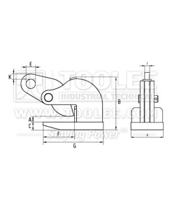 300 9205 PDL Type Horizontal Plate Lifting Clamp Drawing