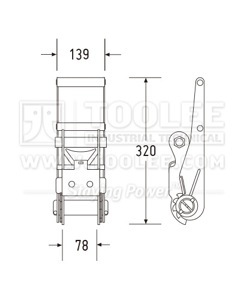 300 3171 75MM Ratchet Buckle Drawing