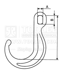 300 1343 Hook J Type With Ellipse Hole drawing