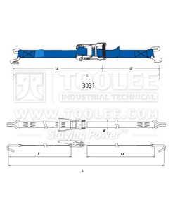 300 3031 35MM Ratchet Tie Down Drawing