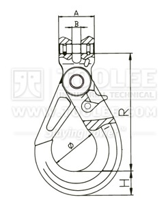 300 1208 Safety Hook Clevis Type With Self Locking Latch G80 New Style drawing