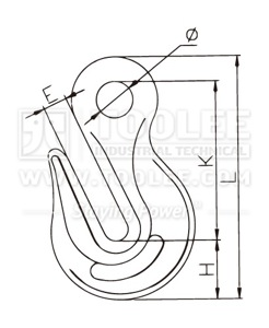 300 1243 Shortening Grab Eye Hook US Type G80 drawing