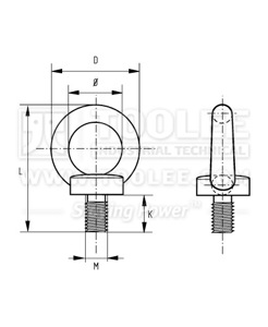 300 1721 Eye Bolt DIN580 drawing