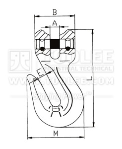 300 1242 Shortening Grab Clevis Hook Type A G80 drawing