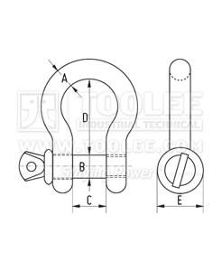 300 5704 Stainless Steel Bow Shackle Screw Pin US SPEC drawing