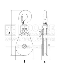 300 2811 11 Champion Snatch Block With Hook Single Sheave 420 Drawing