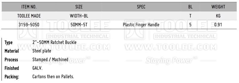 800 3159 2IN 50MM Ratchet Buckle Finger Handle DATA WM