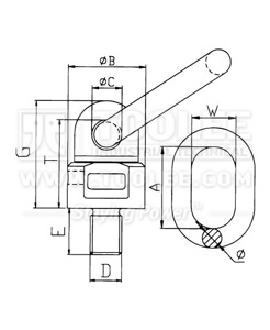 300 1723 Lifting Ring With Swivel and Thread drawing